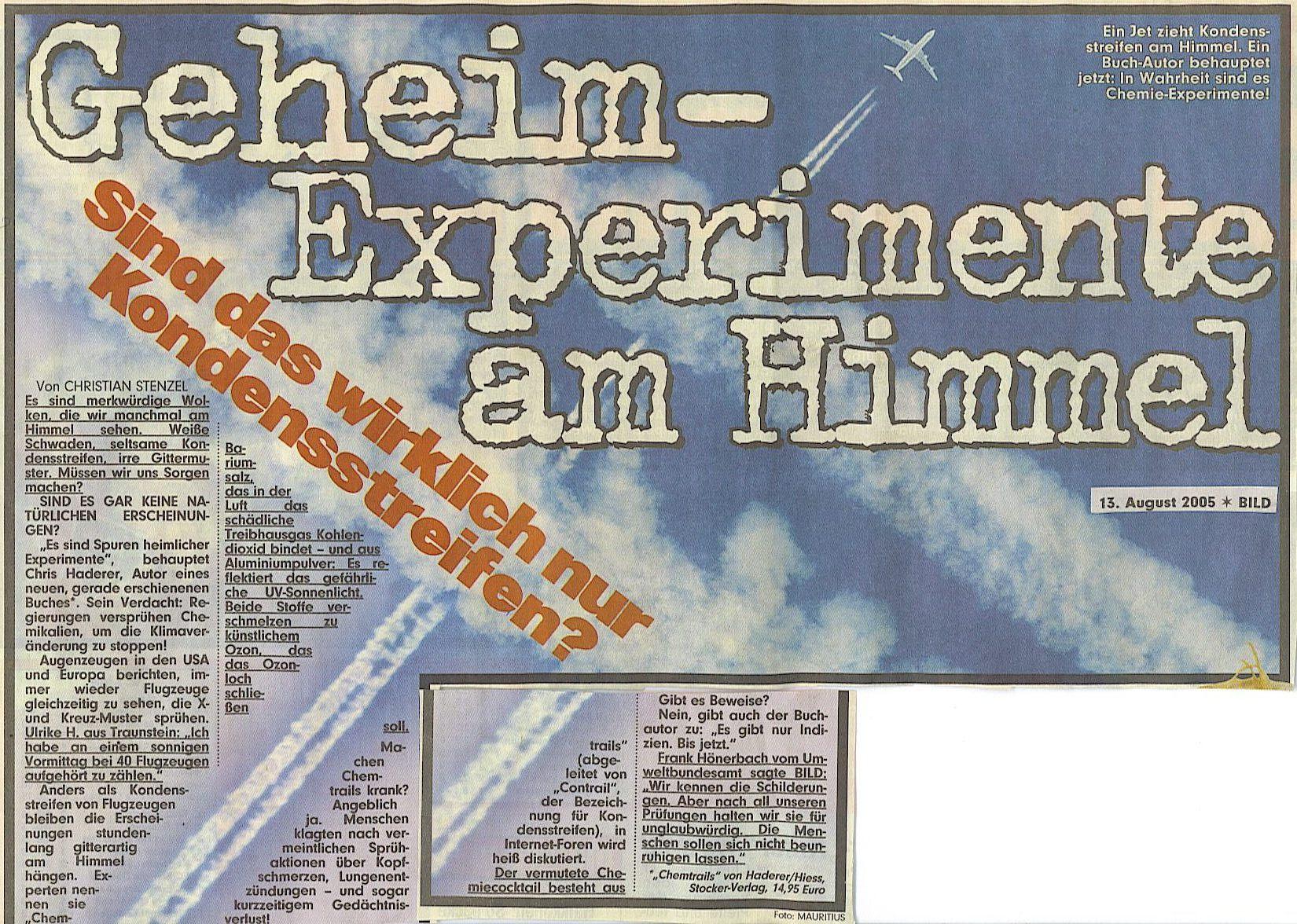 Chemtrails 2005 Schlagzeile: Bild